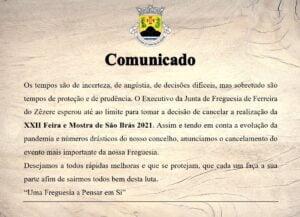 Junta de Freguesia de Ferreira do Zêzere cancela Feira e Mostra de São Brás